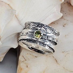 Bohemian Spinner Silver Ring Spinel Stone